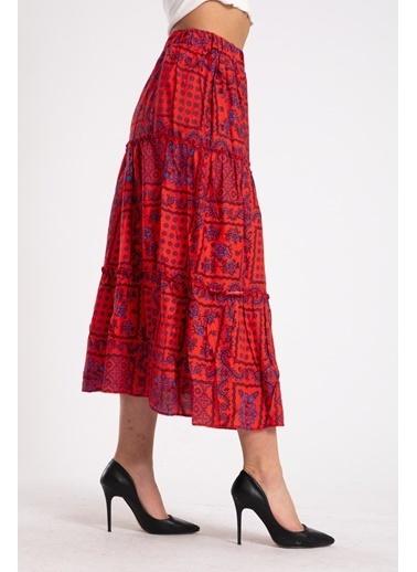 Madame Sare  Kadın Kırmızı Desenli Uzun Etek Kırmızı